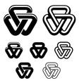 unity triangle black white symbols vector image vector image
