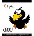 vocabulary worksheet card with cartoon crow vector image vector image