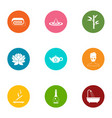 weekend relaxation icons set flat style vector image