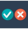 Flat style icons Check and cross marks vector image