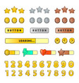 game graphical user interface gui design buttons vector image