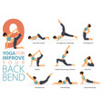 9 yoga poses for improve back bend concept vector image
