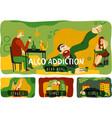 alcohol addiction horizontal banners set vector image vector image