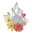 arrangement with summer flowers - dahlia vector image vector image
