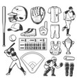 baseball sport game icons or signs set vector image