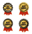 best choice golden quality label sign collection vector image vector image
