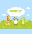 birthday party banner festive invitation card vector image vector image