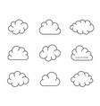 black simple clouds thin line design vector image