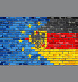 Brick Wall European Union and Germany flags vector image