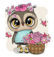 cartoon owl with flowers on a white background vector image vector image