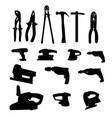 Collection of Power Tools Silhouette vector image