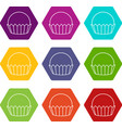 cupcake icons set 9 vector image vector image
