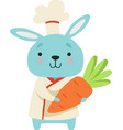 cute bunny in chef uniform holding carrot cartoon vector image vector image