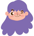cute face girl expression curly purple hair vector image vector image