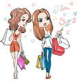 Cute fashion girls with shopping vector image