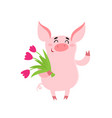 cute pig girl with tulips flower isolated on white vector image