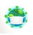 earth with medical mask coronavirus vector image