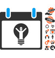 electrician calendar day icon with lovely bonus vector image vector image