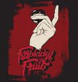 forbidden fruit handwritten lettering hand drawn vector image