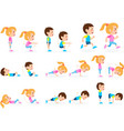 girl and boy children fitness exercise set vector image