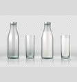 glass and bottle with milk realistic empty half vector image