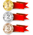 gold silver and bronze medal symbol of victory vector image vector image