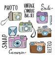 Hand drawn set of retro cameras with lettering vector image vector image