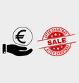 hand offer euro coin icon and grunge after vector image vector image