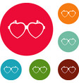 heart eyeglasses icons circle set vector image vector image