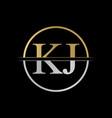 initial kj letter logo design abstract letter kj vector image vector image
