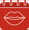 international kissing day glyph color icon vector image