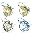 jumping cartoon trout vintage labels set vector image