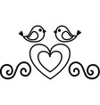 love card with heart and birds vector image