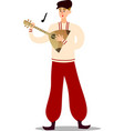man musician in national costume playing balalaika vector image vector image