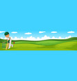 Man playing cricket in the field vector image vector image