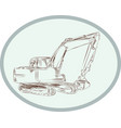 Mechanical Digger Excavator Oval Etching vector image vector image