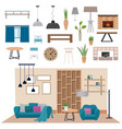 Modern living room interior with wood floor vector image