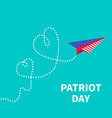 Patriot day paper plane two hearts Flat vector image vector image