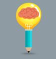 Pencil Brain Bulb vector image vector image