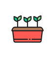 potted plant seed planting agriculture flat vector image