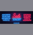 sale neon sign offer a discount template with vector image vector image