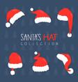 santa claus hat collection set vector image vector image