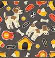 Seamless pattern with cute sticker dogs icons and vector image vector image