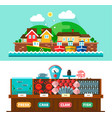Seaport landscapes and seafood market vector image
