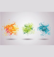 set bright ink blots with frame and place for vector image
