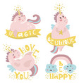 set four magic unicorns with different type of vector image