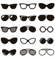 Set of black retro sunglasses icons vector image vector image