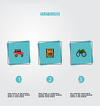 set of camp icons flat style symbols with vector image