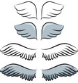 set of cartoon wings vector image vector image