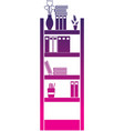 silhouette education bookcase with folders vector image